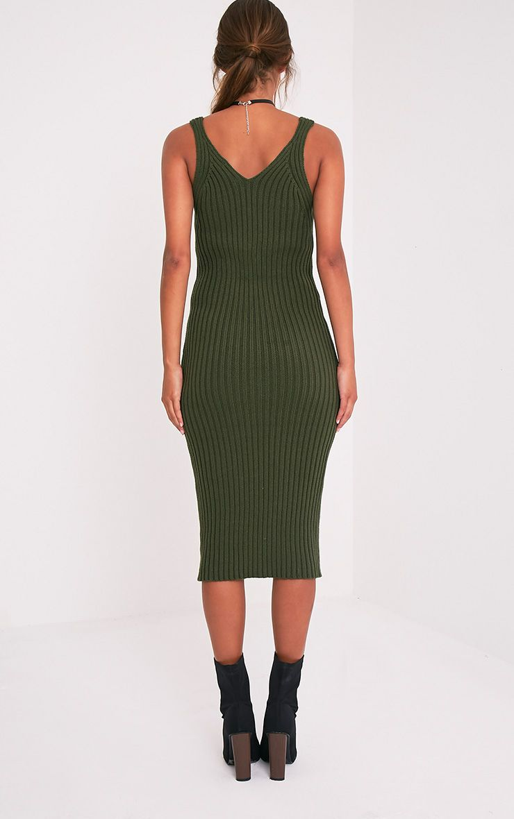 Nimah Khaki Ribbed Vest Knitted Midi Dress 3