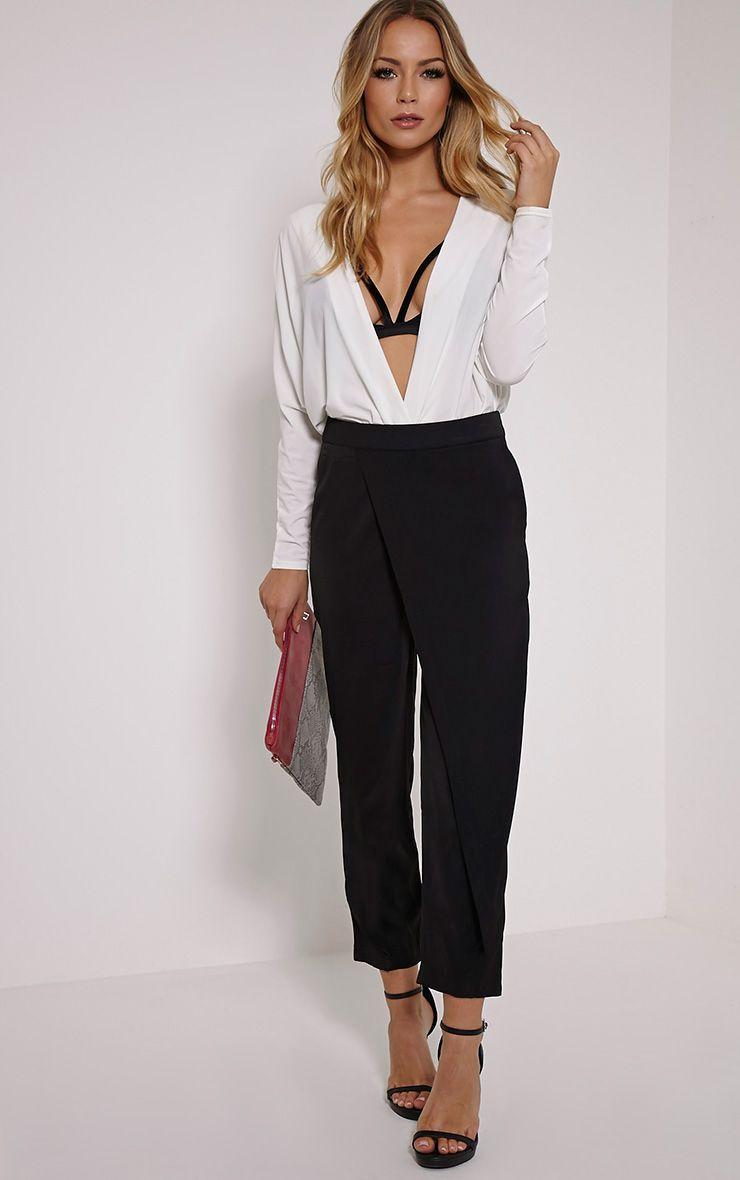 Petite Rachel Black Cross Front Trousers