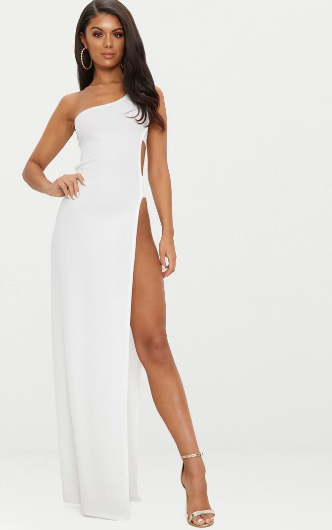 White One Shoulder Extreme Split Cut Out Detail Maxi Dress