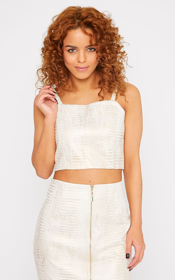 Dafne Cream Leather Crocodile Crop Top  1