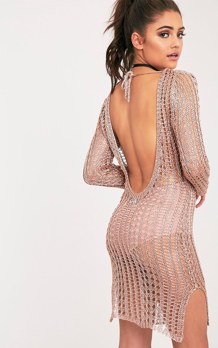 Jasamin Rose Gold Knitted Metallic Knitted Scoop Back Mini Dress