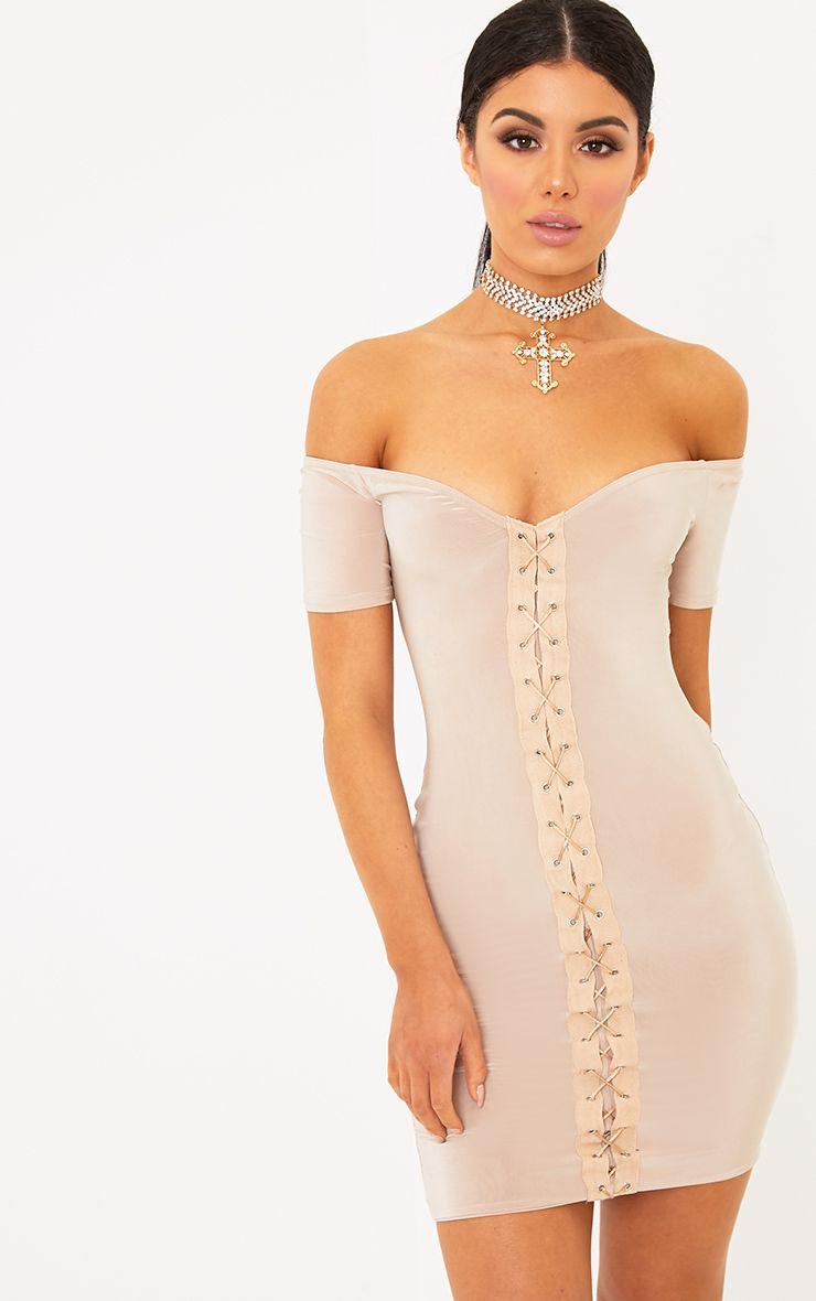 Fae Nude Lace Up Cap Sleeve Bardot Bodycon Dress