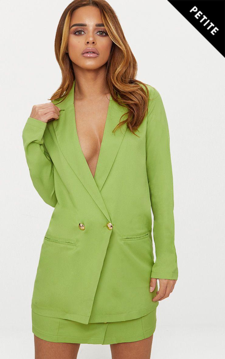 Petite Green Button Detail Blazer