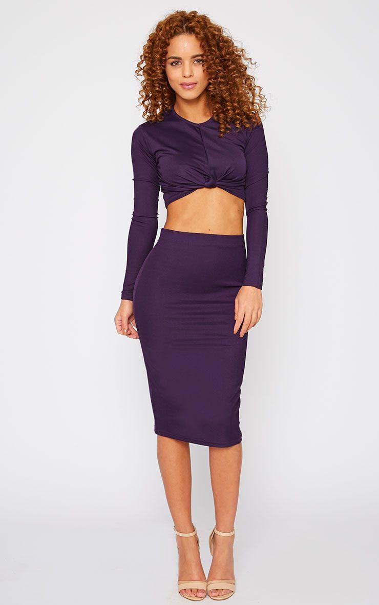 Zafia Plum Crepe Midi Skirt 1