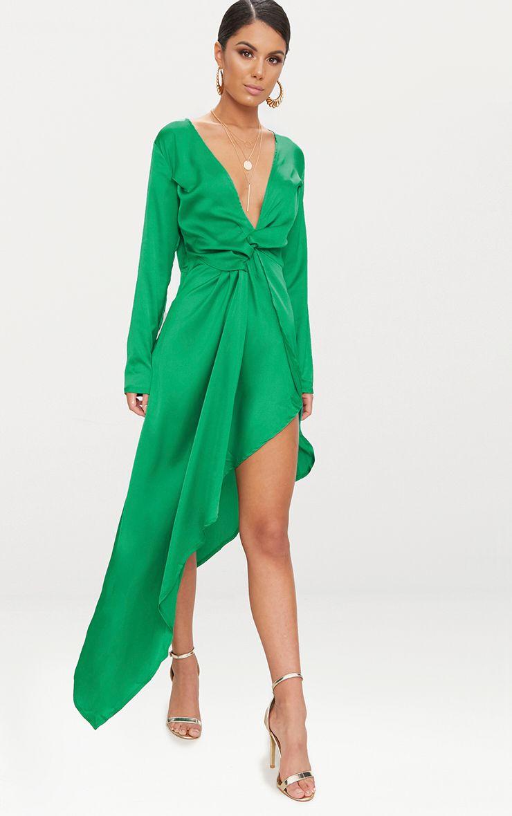 Bright Green Asymmetric Hem Long Sleeve Plunge Satin Maxi Dress