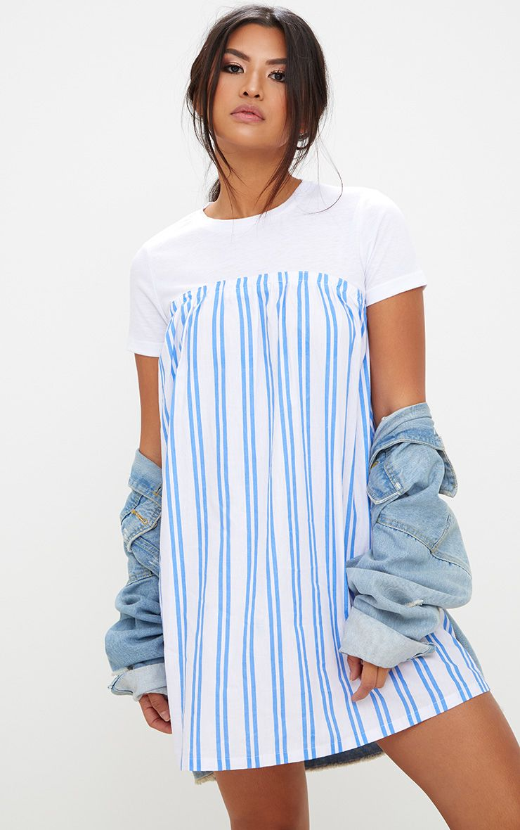 White Striped T Shirt Dress