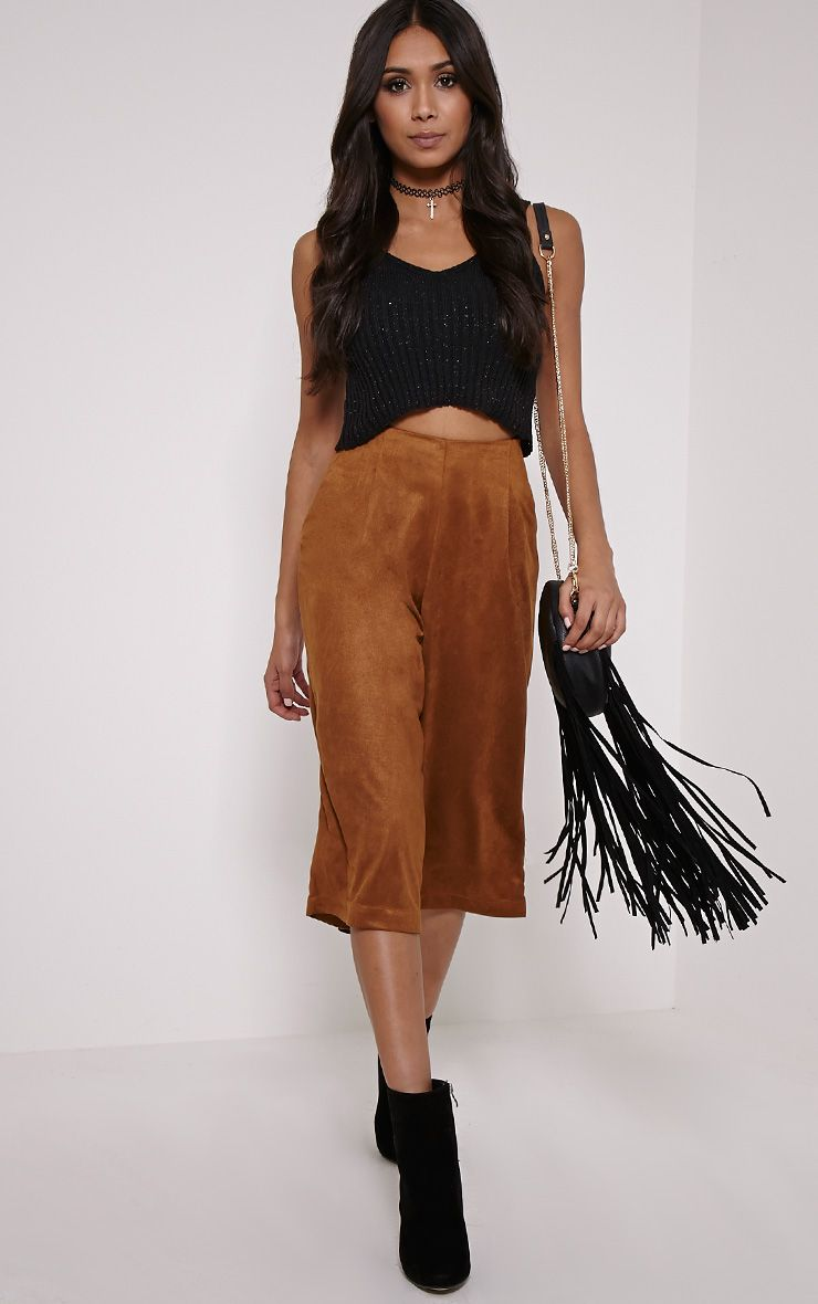 Kaley Tan Faux Suede Culottes 1