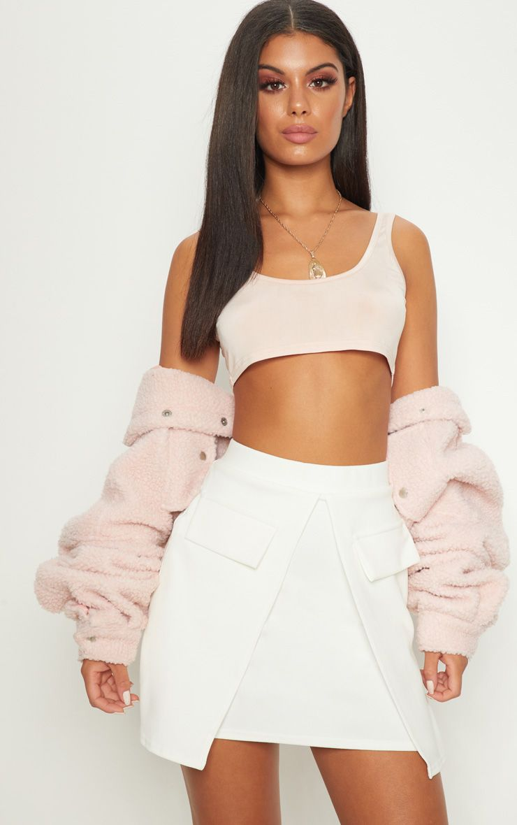 White Split Front Pocket Detail Mini Skirt