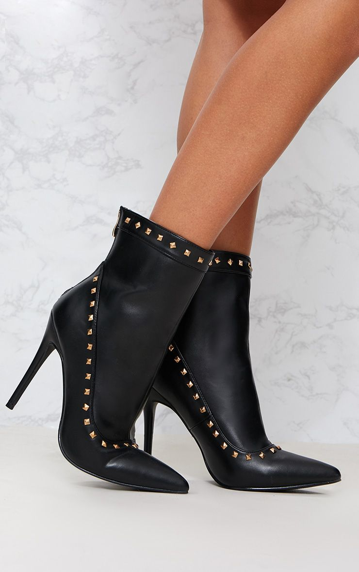 Black Pyramid Studded Ankle Boot