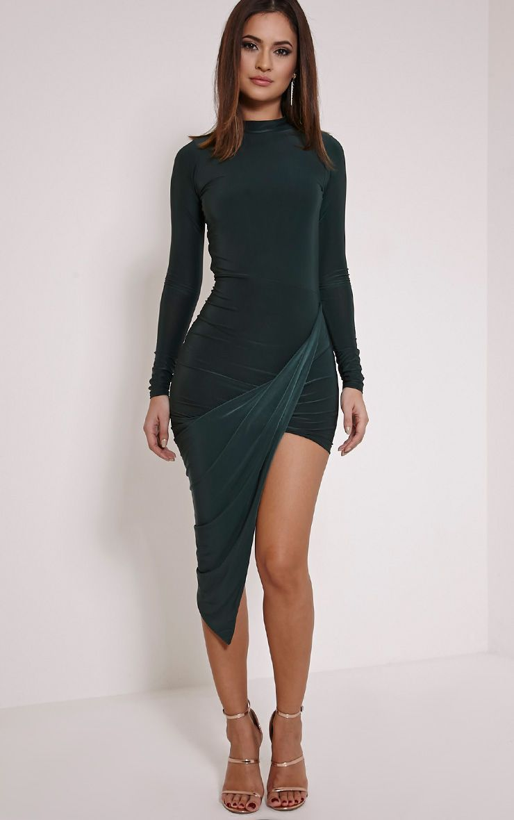 Saffy Bottle Green Long Sleeve Drape Dress 1
