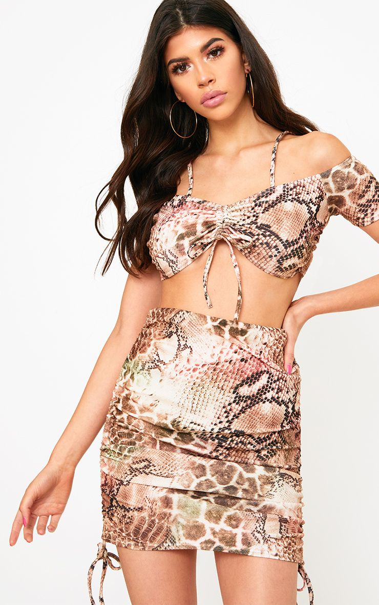 Taupe Snake Print Ruche Side Mini Skirt