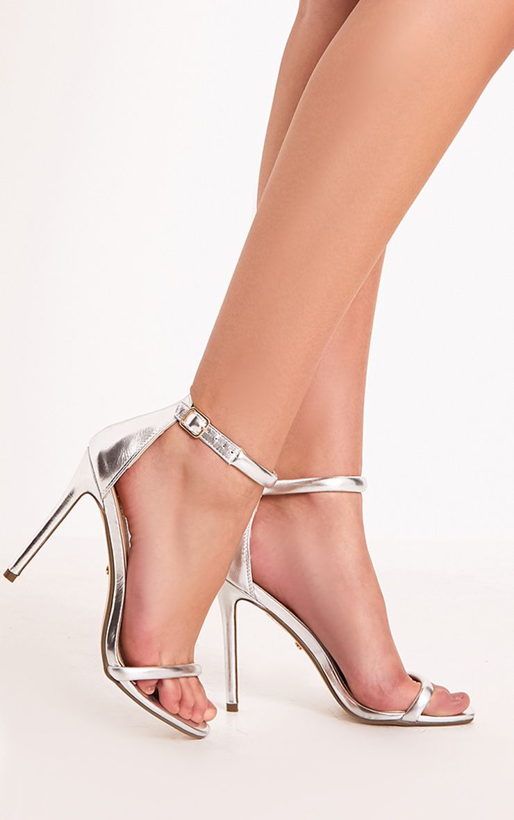 Ruby Silver Square Toe Strappy Heels