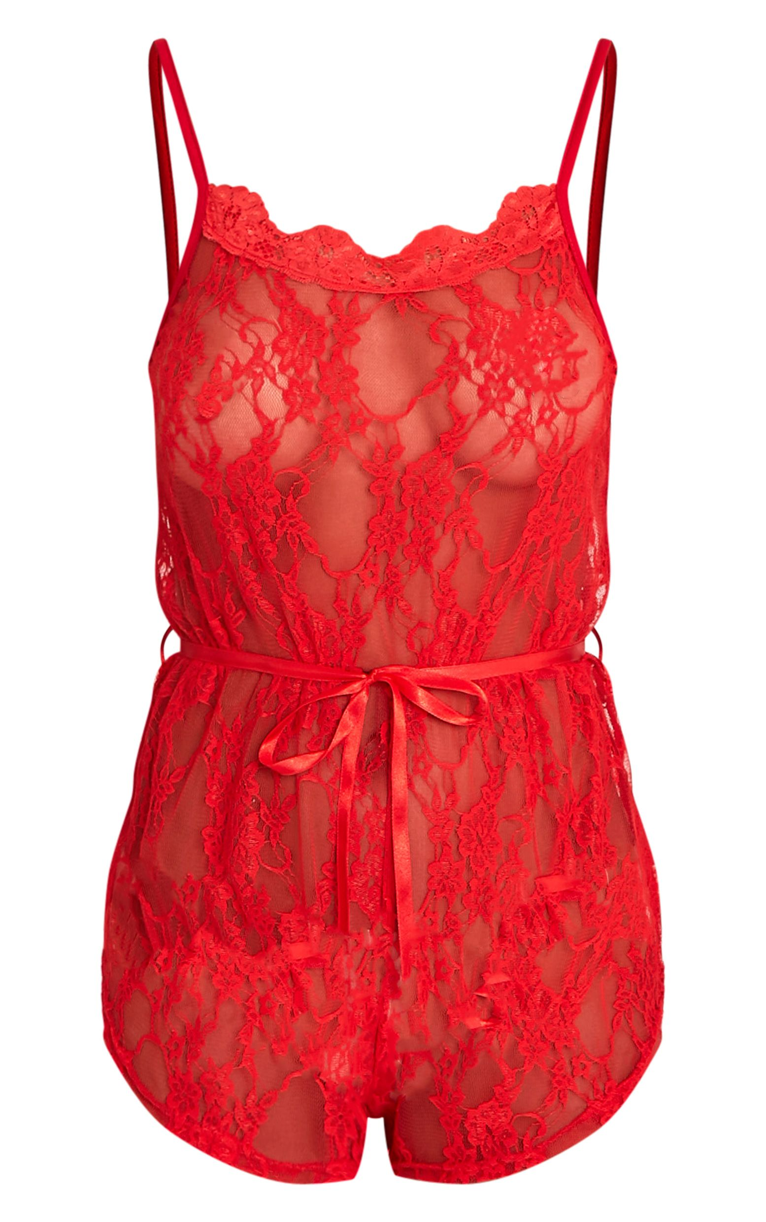 Sanny Red Lace Teddy Nightsuit  Lingerie  Nightwear   Prettylittlething-8055