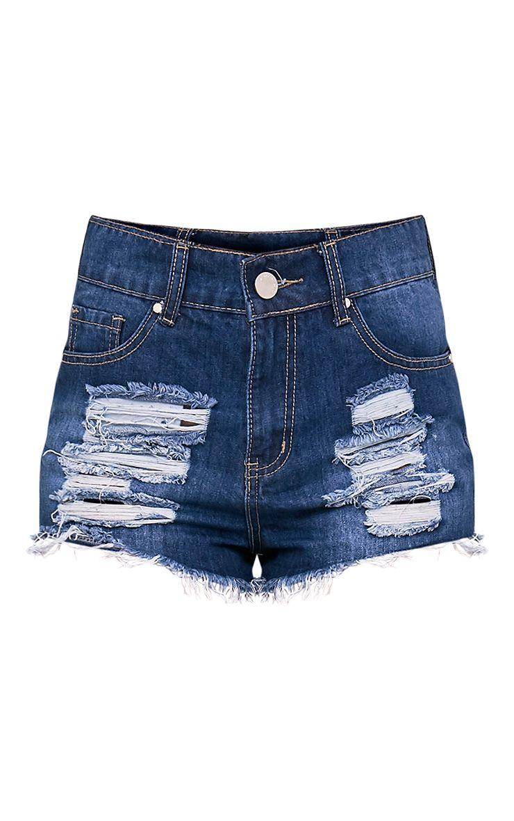 Elana mini short en jean déchiré délavage moyen 3