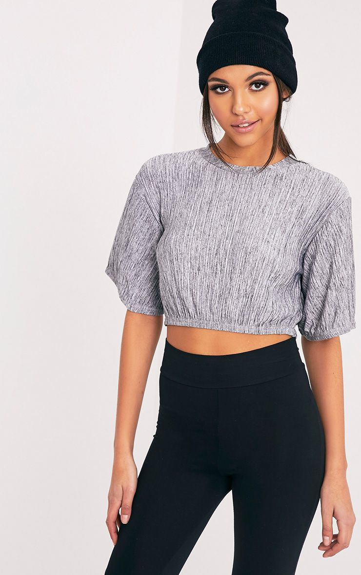 Essie Grey Pleated Jersey Marl Crop Top