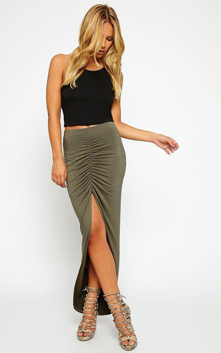 Etta Khaki Ruched Jersey Maxi Skirt 1