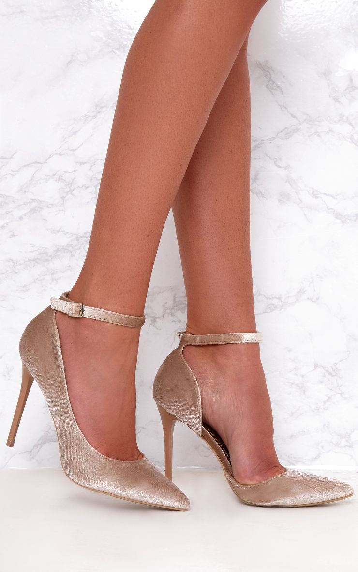 Beige Velvet Ankle Strap Pointy Heels