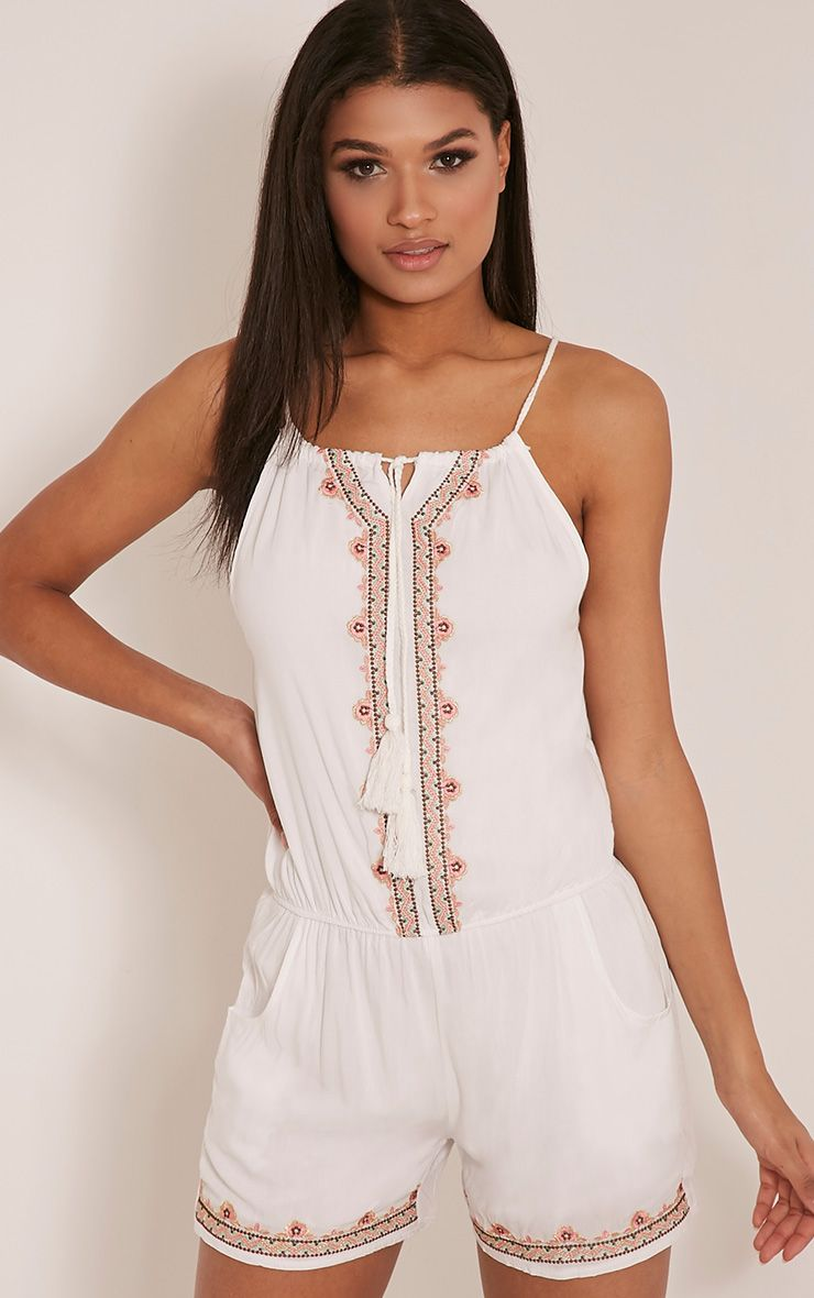 Millie White Embroidered Beach Playsuit 1