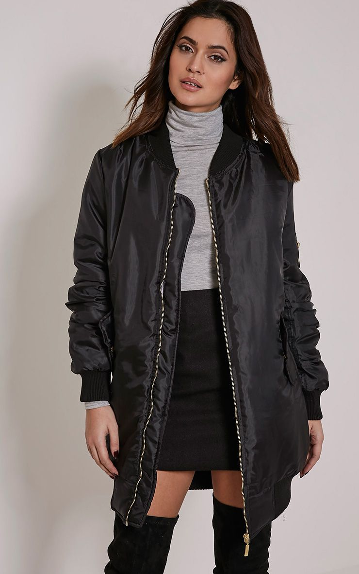 Shelbi Black Longline Bomber Jacket