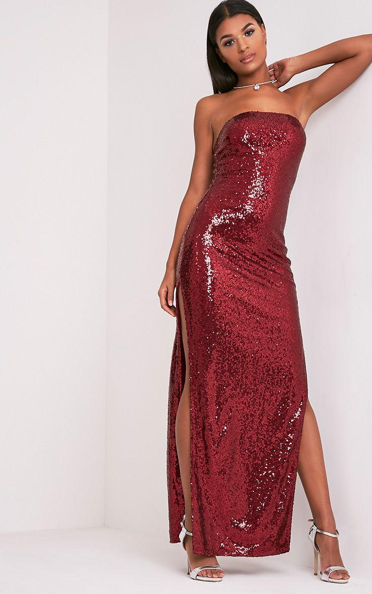 Kathie Burgundy Bandeau Sequin Maxi Dress