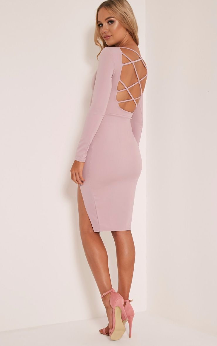 Aneelia Lilac Cross Back Long Sleeve Midi Dress 1