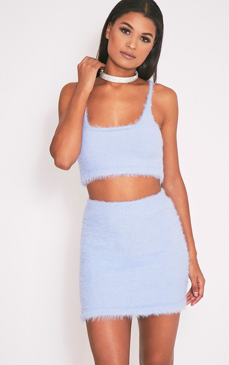 Vivienna Dusty Blue Fluffy Knitted Mini Skirt