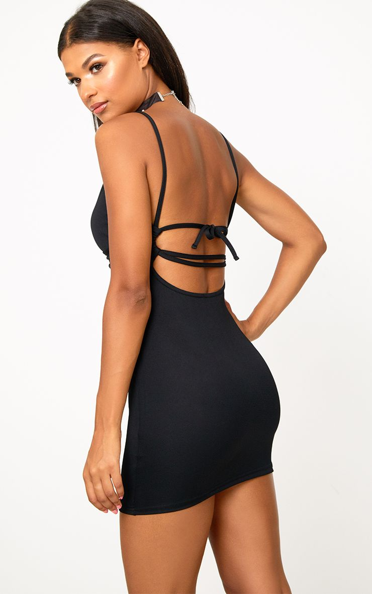 Black Strappy Back Detail Bodycon Dress