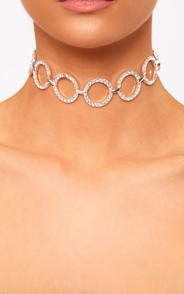 Silver Diamante Ring Choker