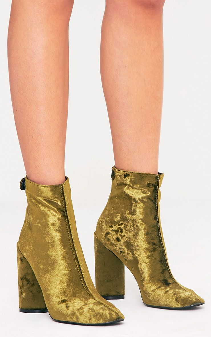 Amie Olive Velvet Heeled Ankle Boots 1