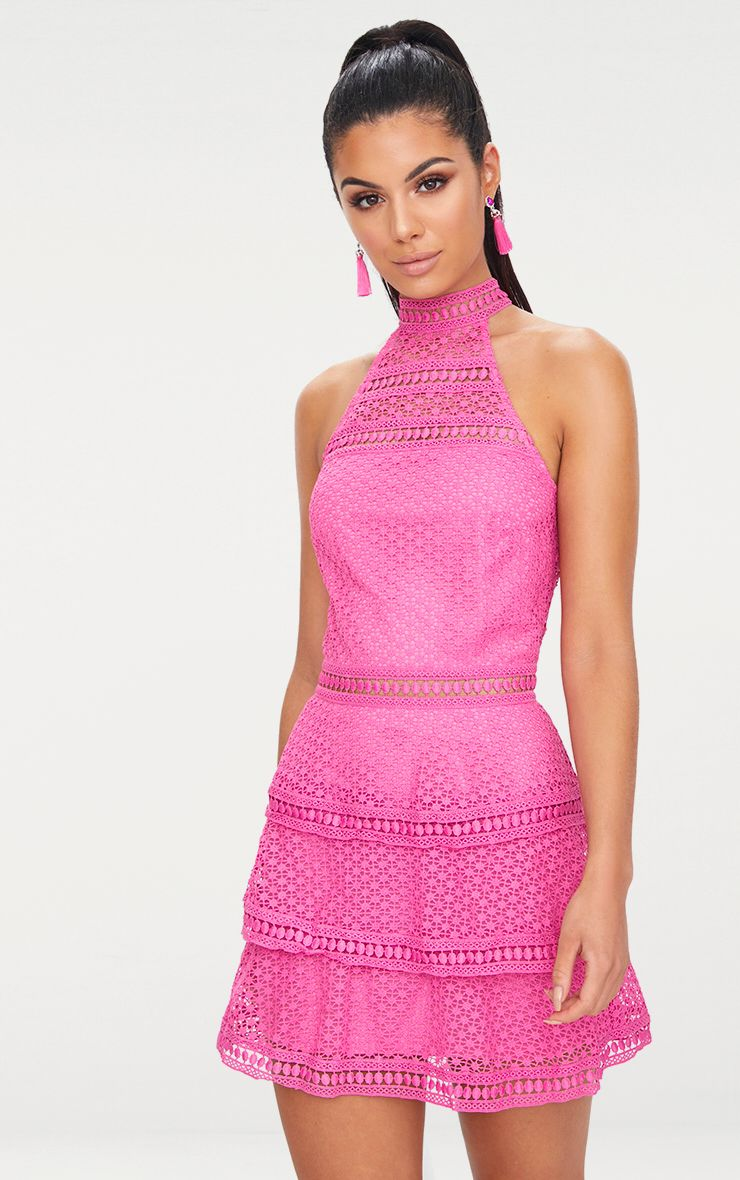 Pink Lace Panel Tiered Bodycon Dress