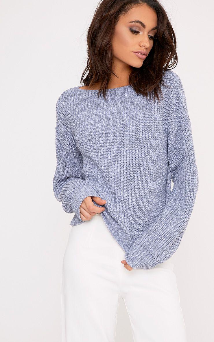 Christiana pull court bleu tricoté mixte col bateau