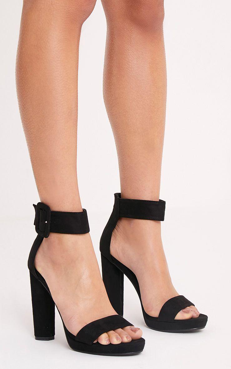 Ettie Black Faux Suede Chunky Heels
