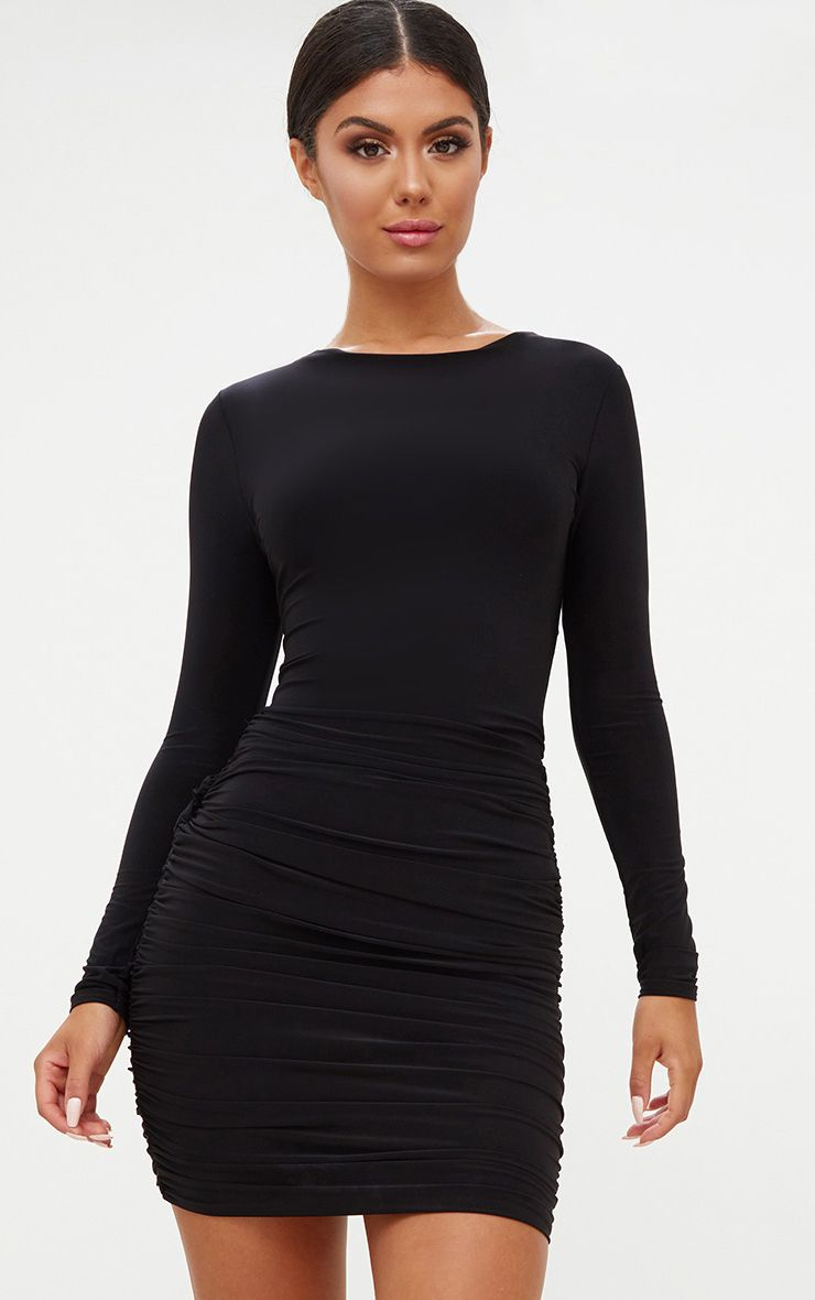 Black Long Sleeve Ruched Open Back Bodycon Dress Dresses
