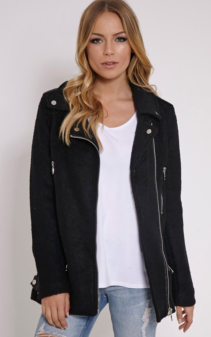 Keeva Black Faux Wool Biker Style Jacket 1