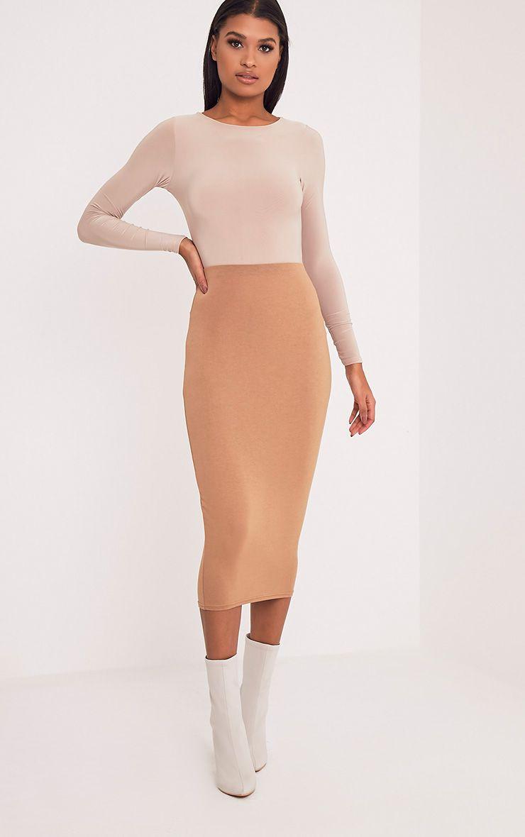 Basic Camel Longline Midi Skirt