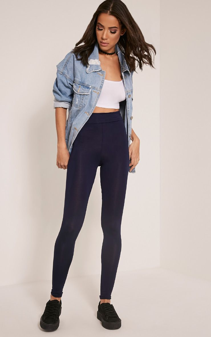 Basic Navy High Waisted Jersey Leggings