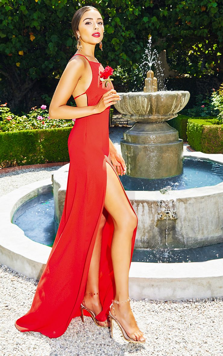 Red Strappy Back Detail Chiffon Maxi Dress