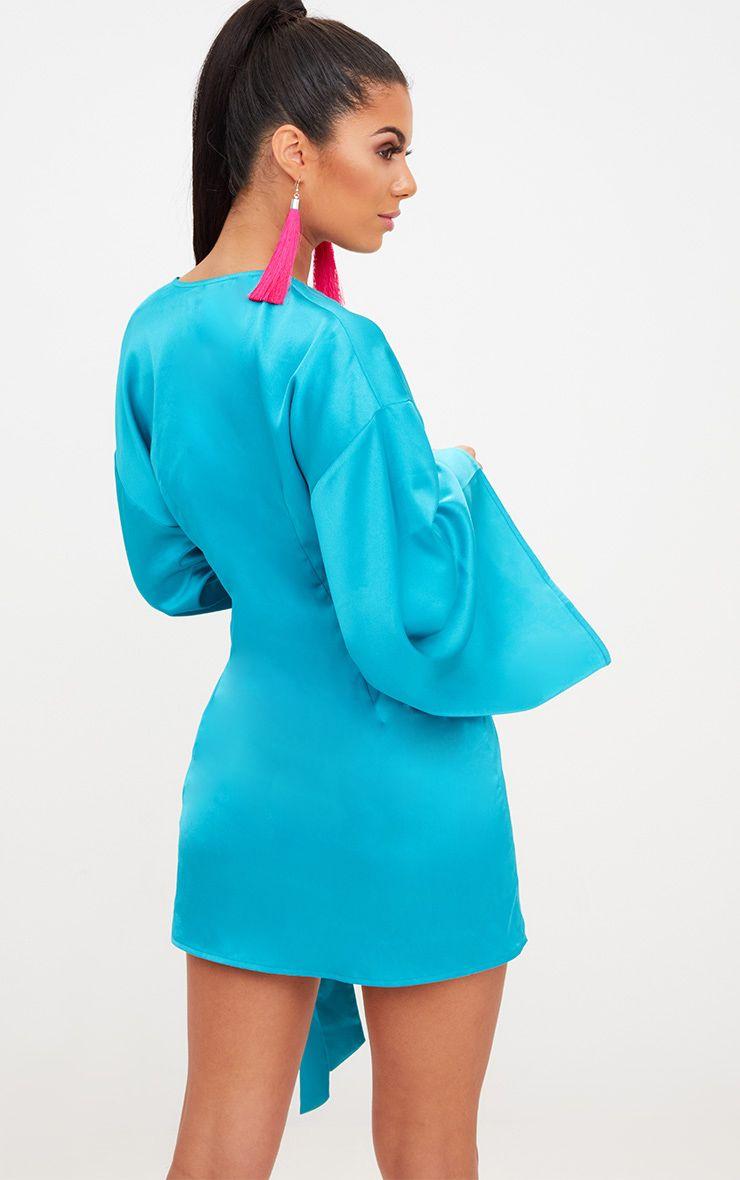 Teal Wrap Long Kimono Sleeve Dress | PrettyLittleThing