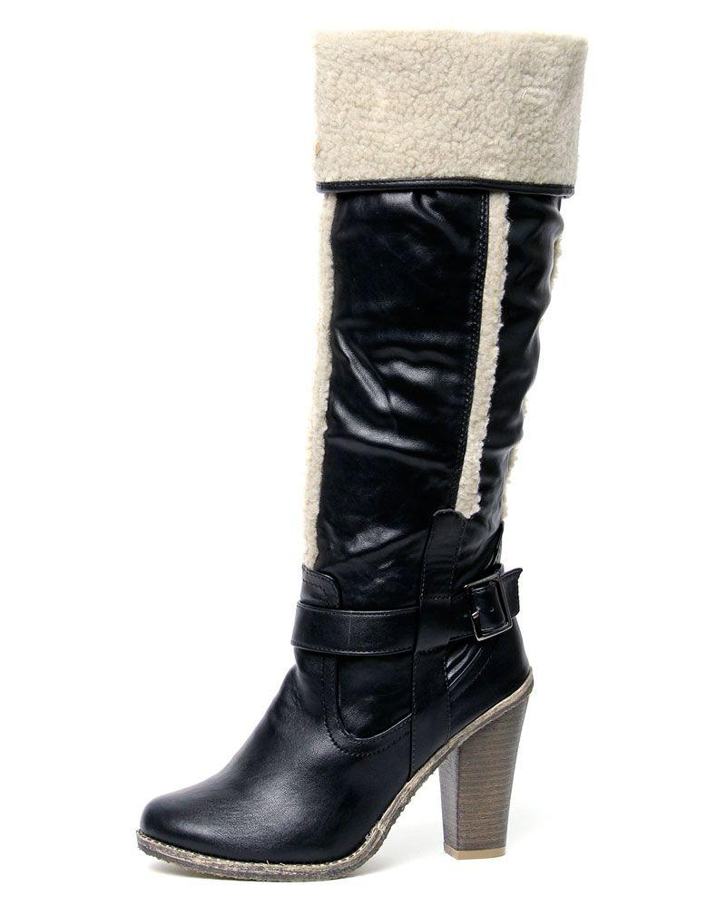 Caroline Black Pu Shearling Boots 1