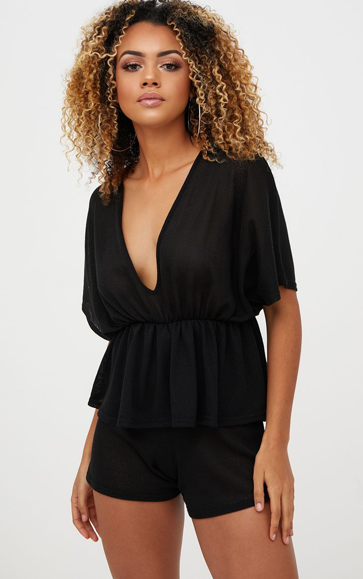 Black Lightweight Peplum Playsuit