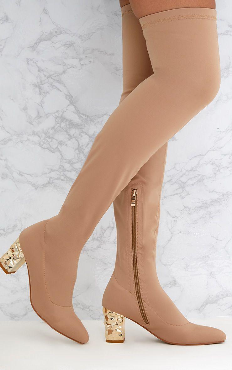Nude Metallic Heel Lycra Thigh High Boots