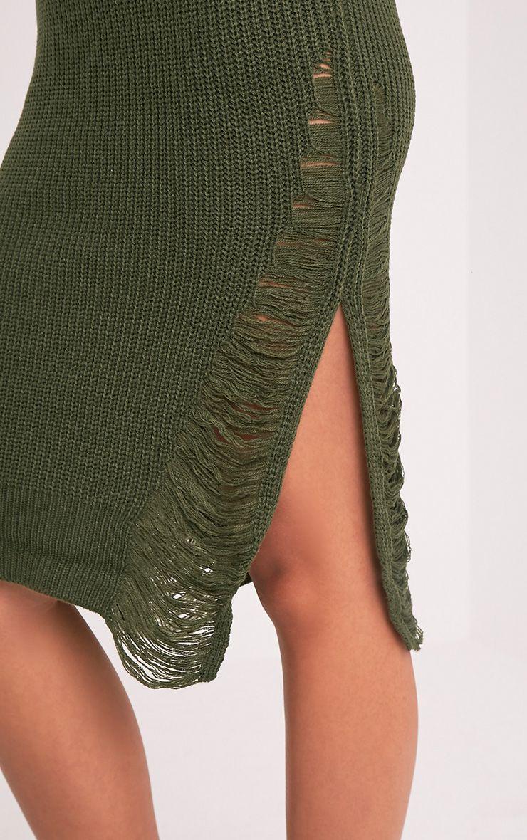 Kionae robe tricotée surdimensionnée effilochée kaki 7