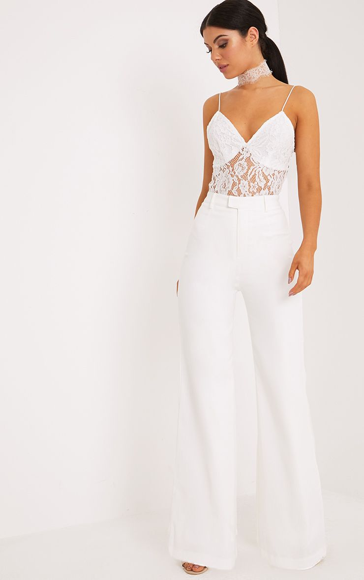 Reemah Cream Wide Leg Crepe Trousers