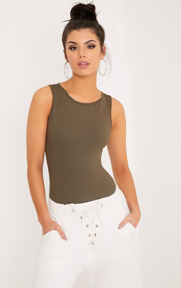 Marria Khaki Ribbed Bodysuit