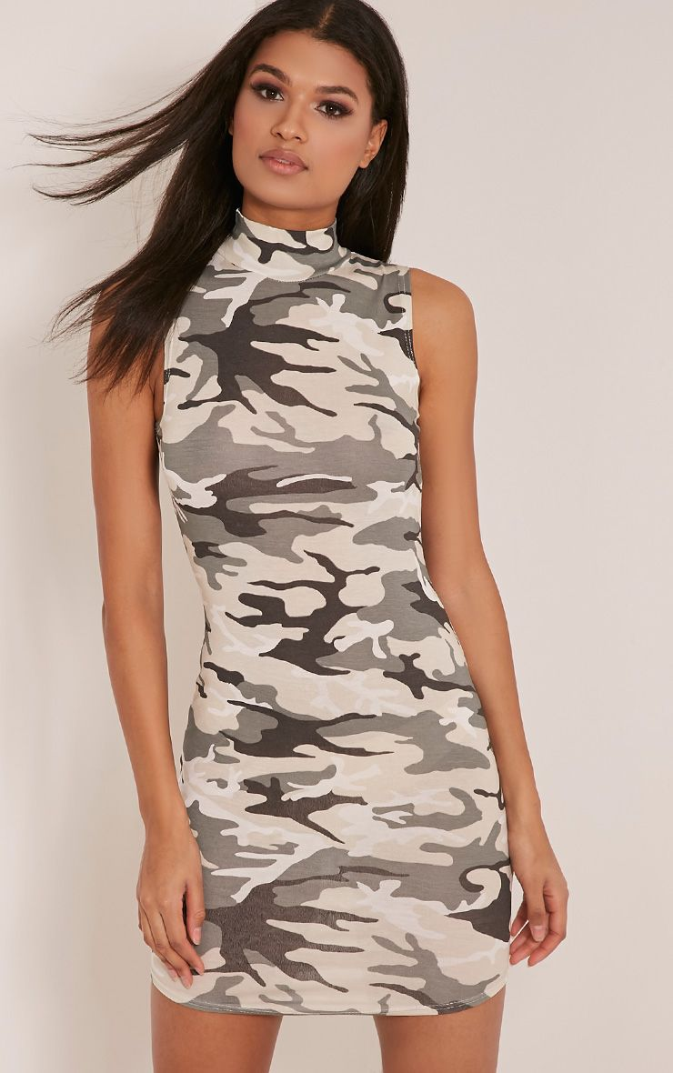 Alby Green Sleeveless Camouflage Print Bodycon Dress 1