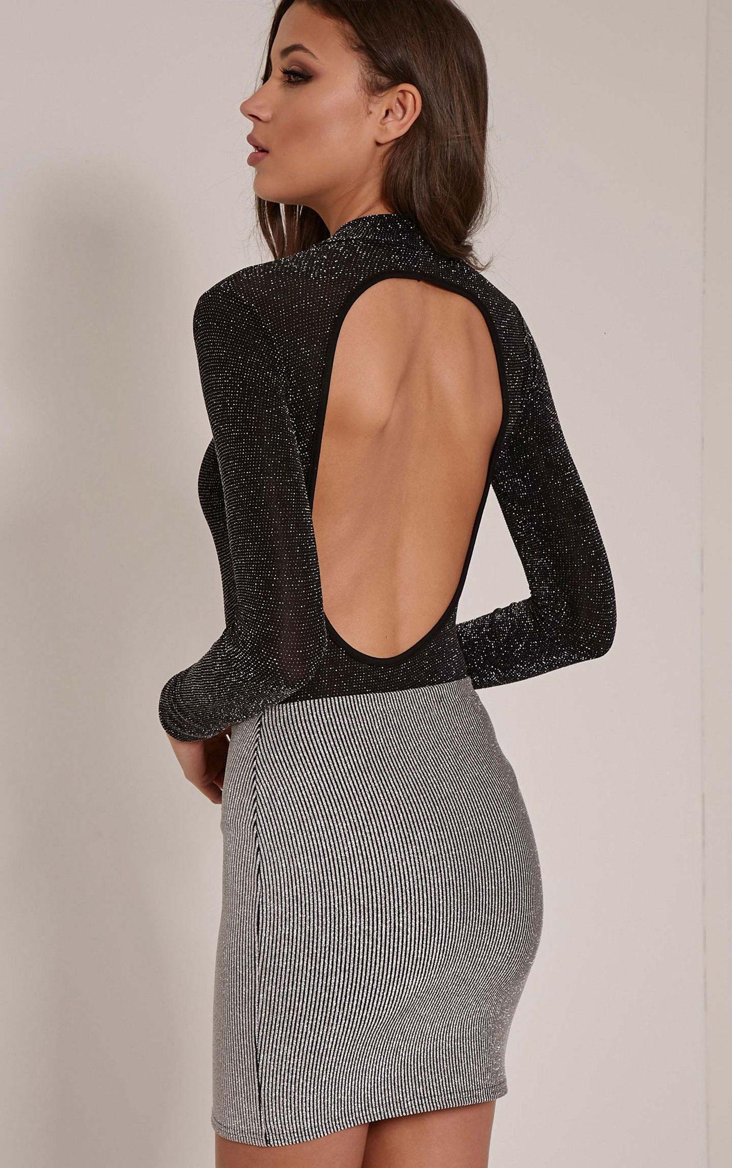 Jane Silver Glitter Cut Out Back Bodysuit 1
