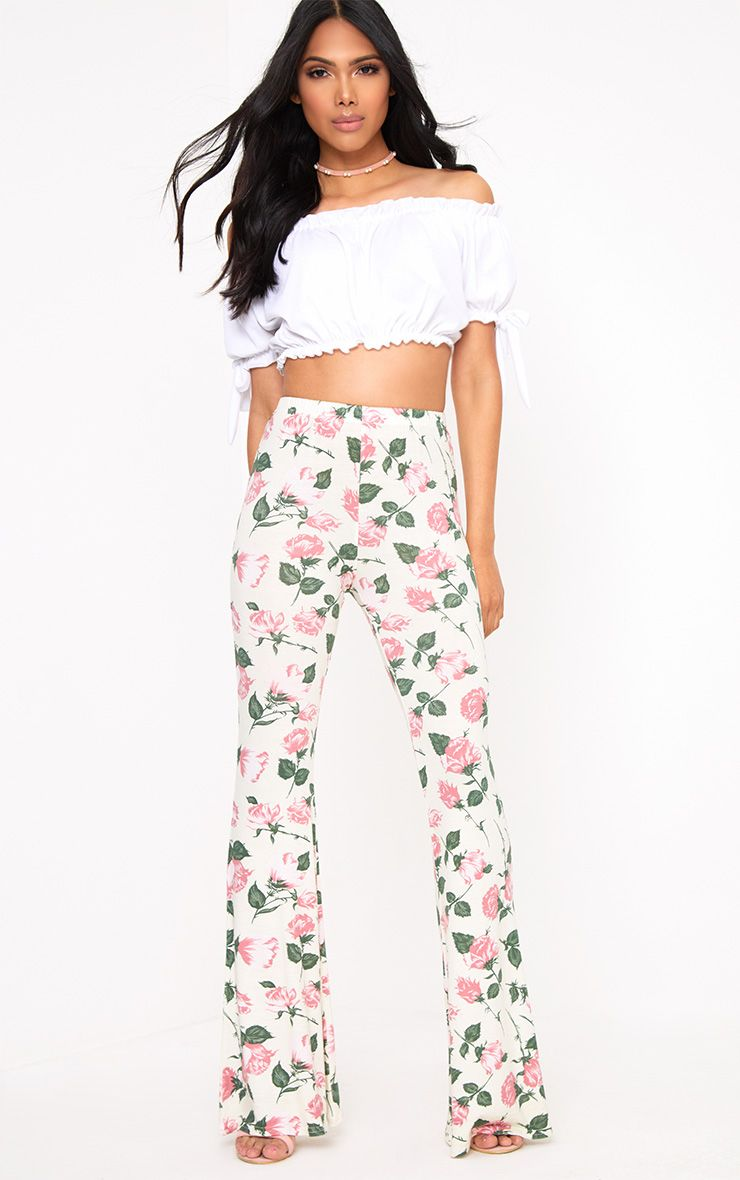 Stone Floral Print Jersey Flared Trousers