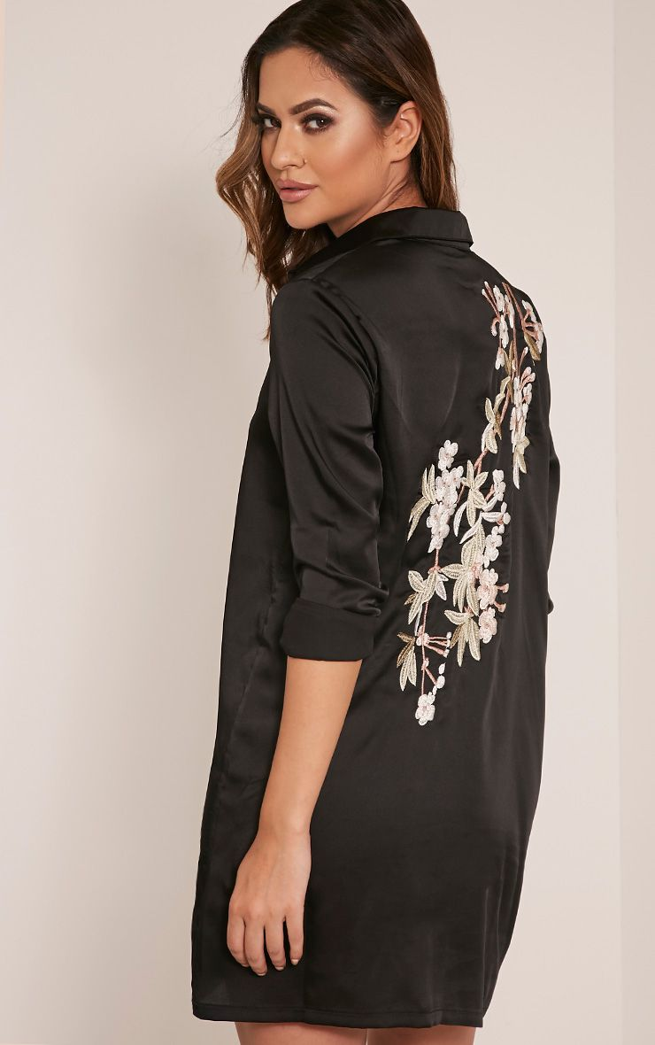 Lizzey Black Floral Embroidered Satin Shirt Dress