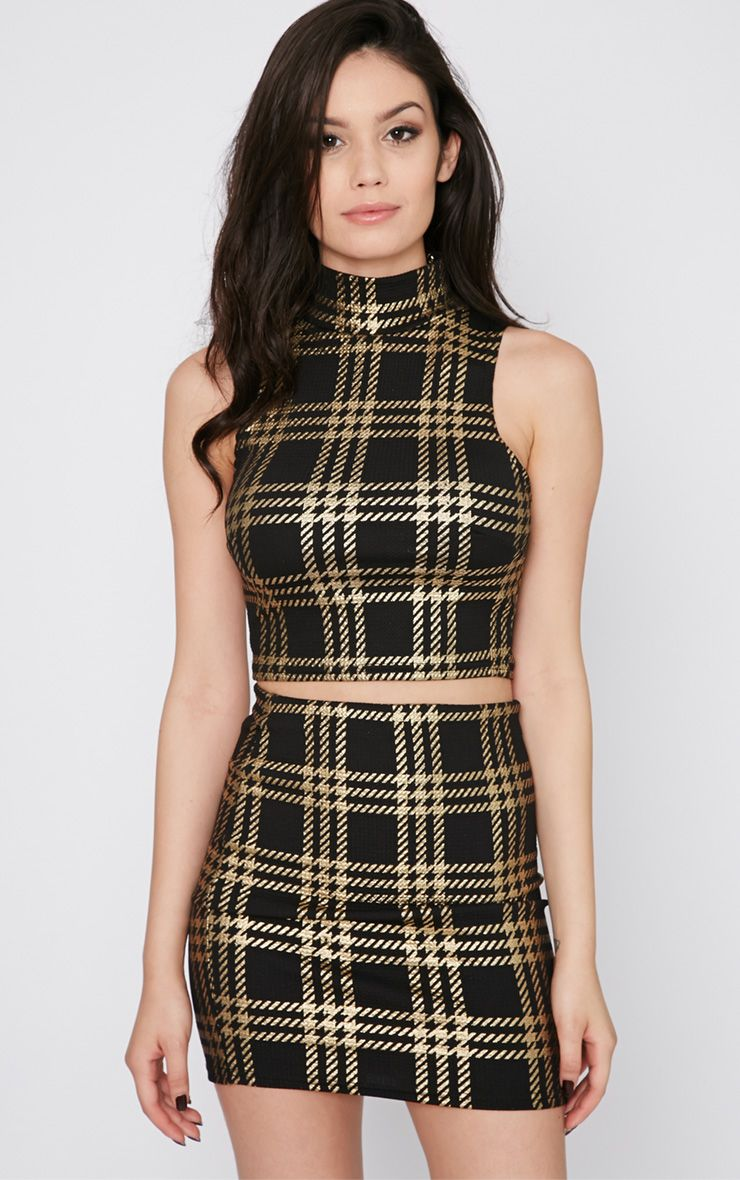 Totsi Black and Gold Checked Crop Top 1
