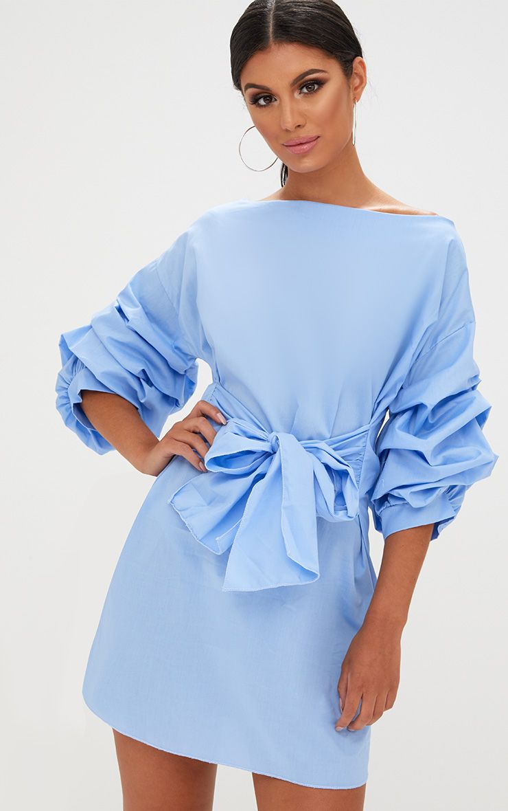 Blue Oversized Ruffle Sleeve Shift Dress
